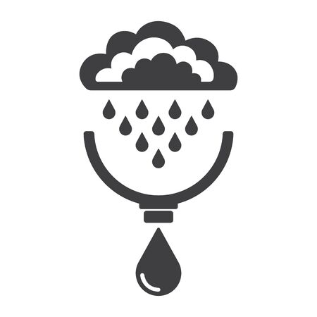 Symbols of clouds, rain, drops, system of rain water harvest. Concept of save water resources. Vector illustration.