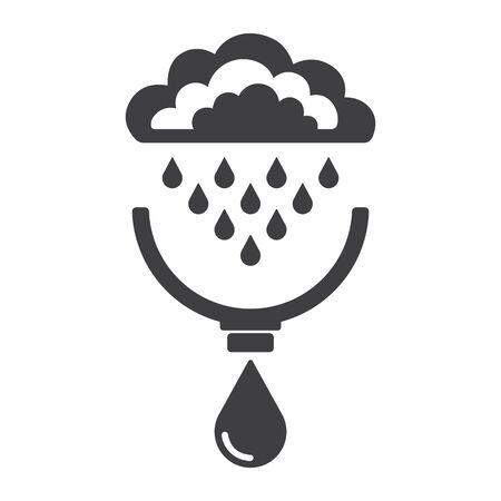 Symbole von Wolken, Regen, Tropfen, System der Regenwasserernte. Konzept der Wasserressourcen zu sparen. Vektor-Illustration.