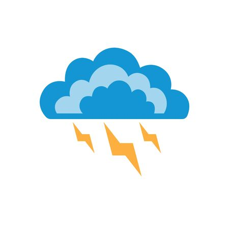 Symbols of clouds and thunderstorm. Abstract concept, icon. Vector illustration.