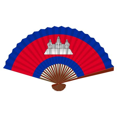 Traditional asian folding hand fan. Flag of Cambodia. Vector illustration.