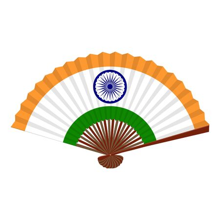 Traditional asian folding hand fan. Flag of India. Vector illustration.