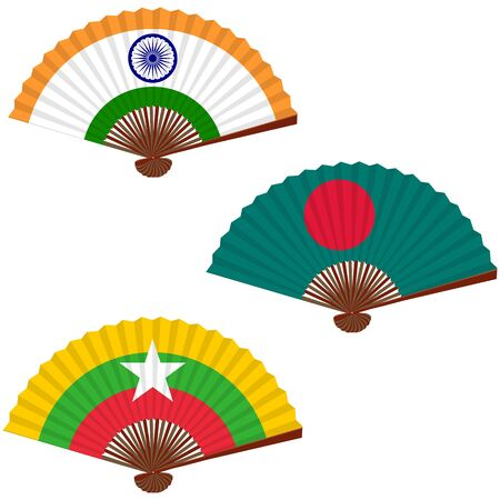 Traditional asian folding hand fan, set. Symbols of the flags of the countries. India, Bangladesh, Myanmar(Burma). Vector illustration.