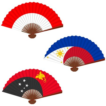 Traditional asian folding hand fan, set. Symbols of the flags of the countries. Indonesia, Philippines, Papua New Guinea. Vector illustration.