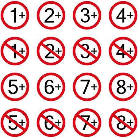 Age restriction symbols, icon set. Infographic symbols for tv, advertising, cinema, internet, school, marketing, etc. Vector illustration.