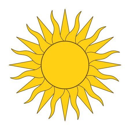 Yellow sun with twenty-four rays. Vector illustration on white background. Illustration