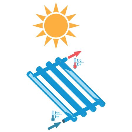 Symbols of a solar water heater, elements of infographics. Vector illustration.