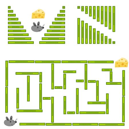Childrens educational game. A little mouse is looking for its cheese. Collect and go through your maze. Vector illustration.