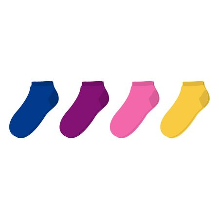 A set of socks in different colors. Vector illustration on white background. Иллюстрация