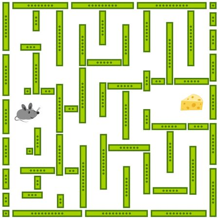 Childrens educational game. A little cute mouse is looking for its cheese. Vector illustration. Ilustrace