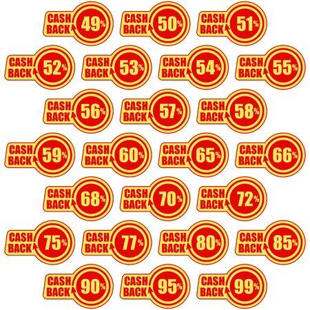 Cashback forty nine - ninety nine percent, icon set. Concept for sticker, tag, label, infographic element. Vector illustration.