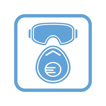 Safety glasses and protective mask with flap, icon. Square blue sign. Vector illustration.