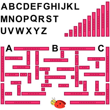 Children's educational game. Assemble your maze and find the desired letter of the alphabet. 写真素材 - 143389313