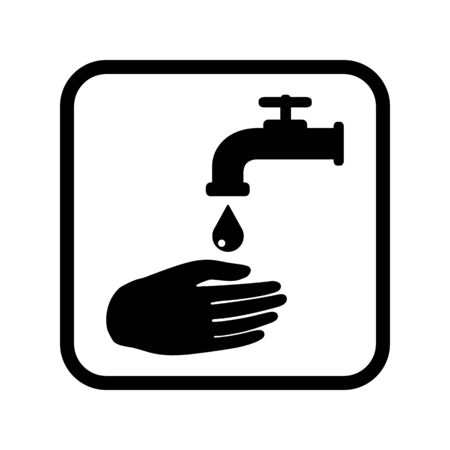 Wash your hands. Square black sign. Vector illustration.