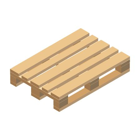 Wooden pallet, isometric design. Vector illustration.