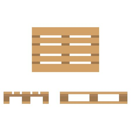 Wooden pallet. Flat design, top view, front and side view. Vector illustration.