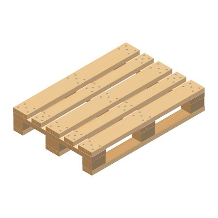 Wooden pallet, isometric design. Realistic image with the texture of light wood and with fasteners. Vector Illustration. Vetores