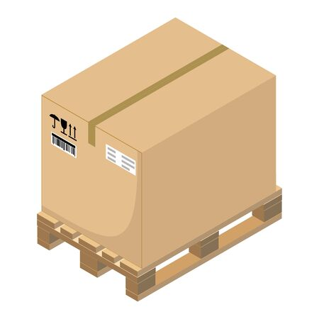 Cardboard box on a pallet. Isometric design. Vector illustration.