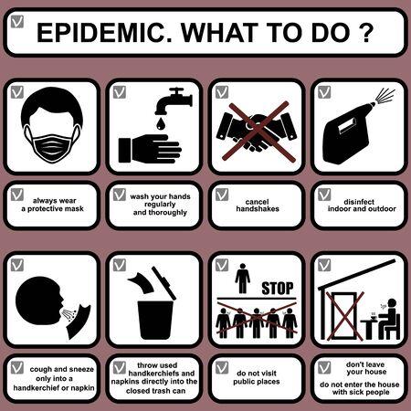 Healthcare infographic elements. EPIDEMIC. WHAT TO DO? Vector illustration. Ilustração
