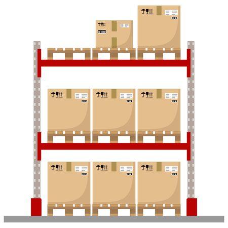 Metal racks for a warehouse with boxes on pallets. Flat design, front view. Vector illustration. Vektoros illusztráció