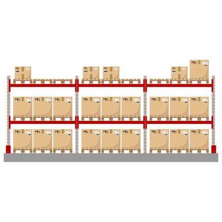 Metal racks for a warehouse with boxes on pallets. Flat design, front view. Vector illustration.
