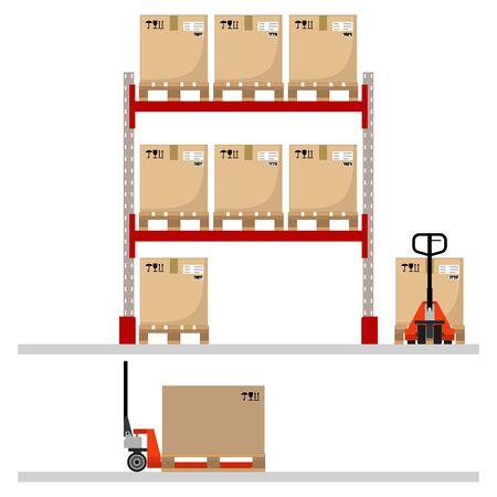 Metal racks with boxes on pallets, hand pallet trucks with a cardboard boxes. Flat design. Vector illustration. Vektoros illusztráció