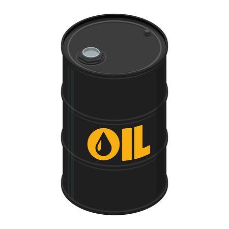 Oil barrel, black color, isometric design. 3D Render. Vector illustration. Illustration