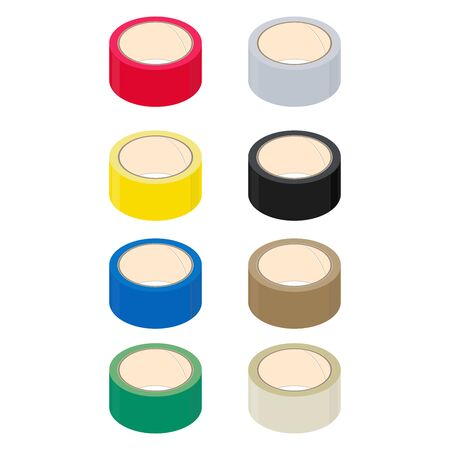 Rolls of adhesive tape, different color, isometric design. 3D Render. Vector illustration.
