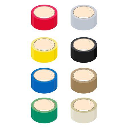 Rouleaux de ruban adhésif, couleur différente, design isométrique. Rendu 3D. Illustration vectorielle.