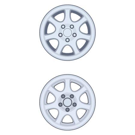 Car rim, set. Realistic design. Vector illustration on a white background.