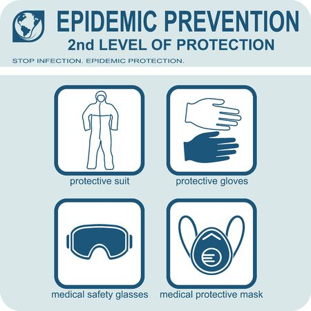 Healthcare infographic elements. EPIDEMIC PREVENTION. 2nd LEVEL OF PROTECTION. Vector illustration.  イラスト・ベクター素材