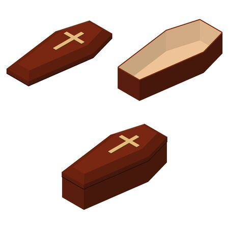 Red closed and opened classical expensive coffin set with a cross a wooden casket isometric 3d render. Vector illustration 向量圖像