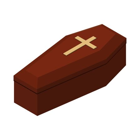 Red closed classical expensive coffin with a cross a wooden casket isometric 3d render. Vector illustration