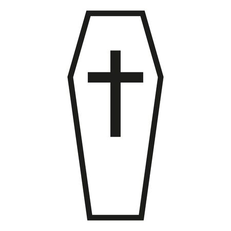 Black outline icon classical coffin with a cross a wooden casket. Vector illustration