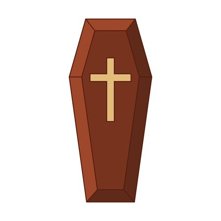 Red classical expensive coffin with a cross a wooden casket. Vector illustration 向量圖像