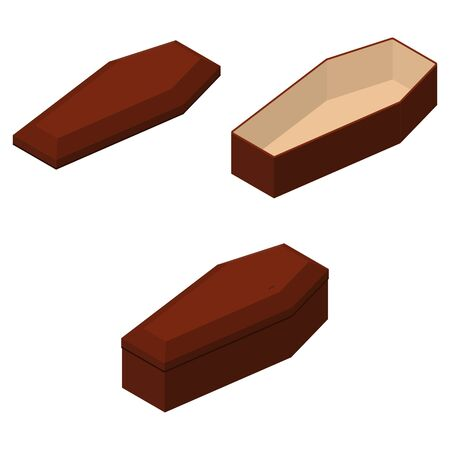 Red closed and opened classical international expensive coffin set a wooden casket isometric 3d render. Vector illustration 向量圖像