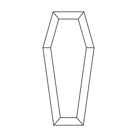 Black outline icon classical international coffin a wooden casket. Vector illustration 向量圖像