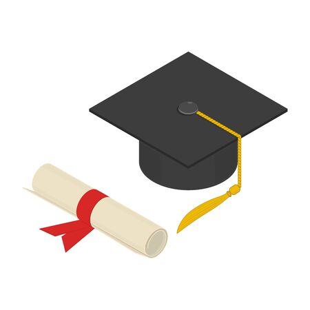 Graduation cap and diploma scroll, isometric design. 3D render. Vector illustration.