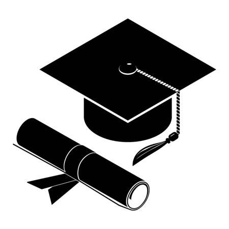 Graduation cap and diploma scroll, icon. Vector illustration on a white background. Ilustração Vetorial