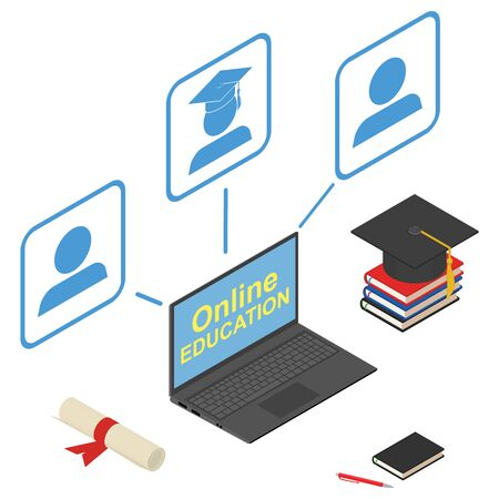 Online education, infographic elements. Laptop, graduation cap, scroll, books, textbooks, pen, pencil, notebook. 3D render. Vector illustration. Ilustrace