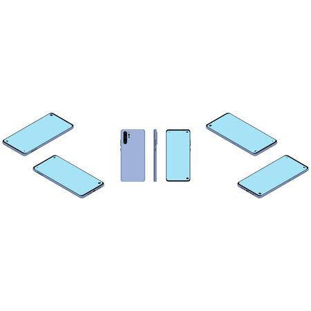 Smarthpone, isometric design. 3D render. Vector illustration.