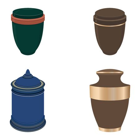 Urn for ashes, set. Symbols for the funeral service. Vector illustration.