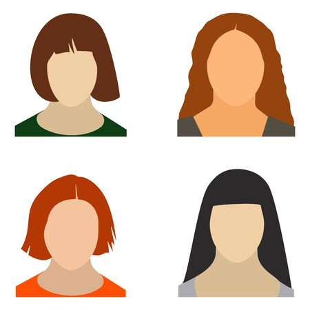 Woman faceless avatar, icon set. Vector illustration.