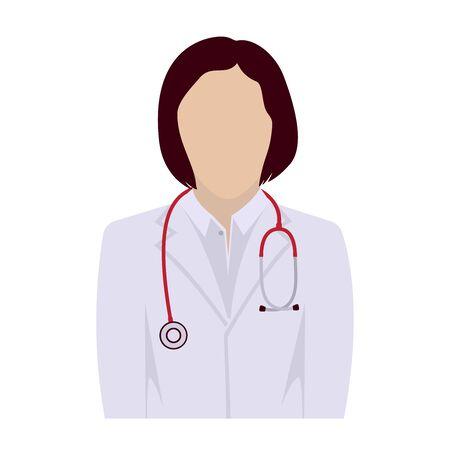Faceless female avatar doctor, icon. Vector illustration.