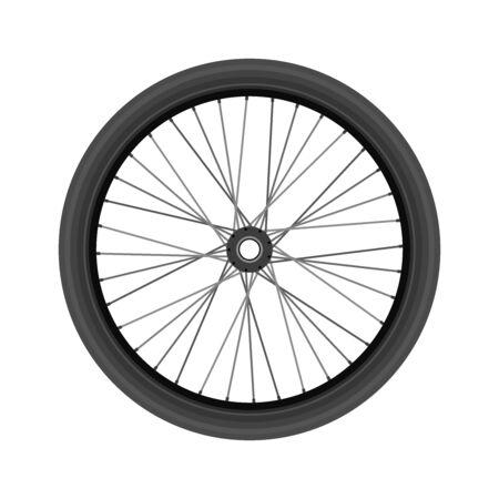 Bike wheel, realistic design. Vector illustration. Vettoriali
