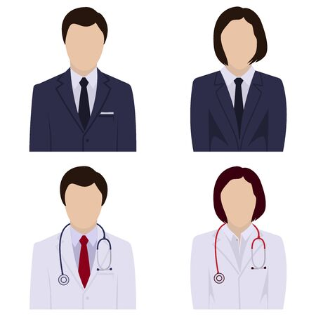 Faceless male and female avatars, icon set. Vector illustration. Ilustrace