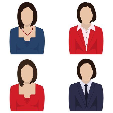 Businesswoman faceless avatar, icon set. Vector illustration.