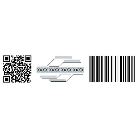 A set of digital codes. QR code, sixteen-digit code, BAR code. Vector illustration.