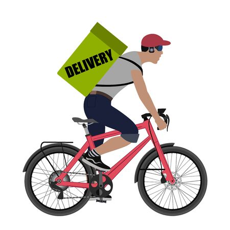 Delivery Concept. Courier on a bicycle with a bag for deliveries. illustration.