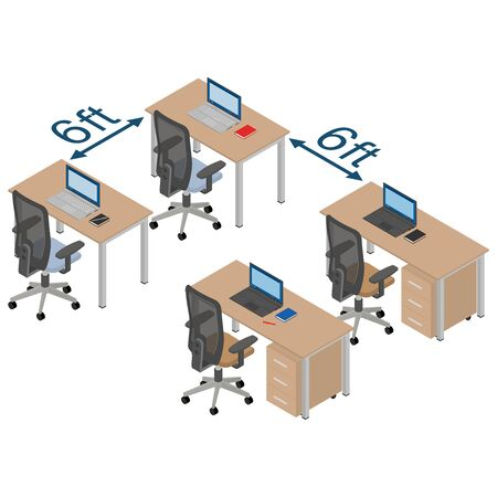 Social distance 6 ft. Workplaces, isometric design. 3D render. Vector illustration.