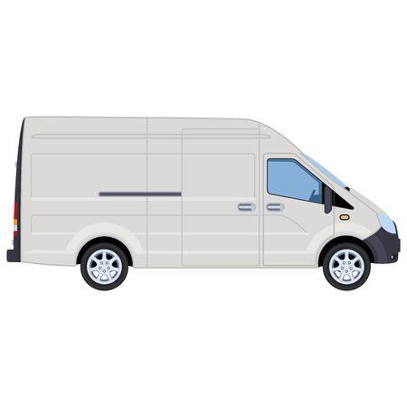 White van, side view. Concept for delivery service, cargo transportation, ambulance. Vector illustration.